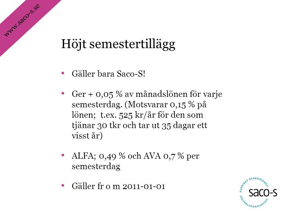 www.saco-s.se • Gäller bara Saco-S! • Ger + 0,05 % av månadslönen för varje semesterdag. (Motsvarar 0,15 % på lönen; t.ex. 525 kr/år för den som tjäna