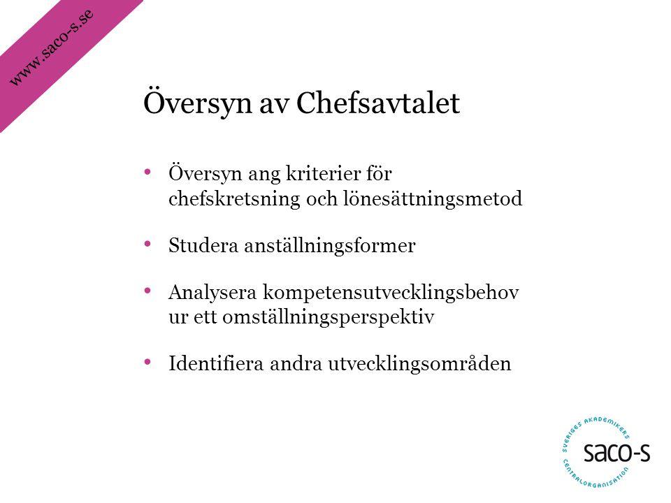 www.saco-s.se • Översyn ang kriterier för chefskretsning och lönesättningsmetod • Studera anställningsformer • Analysera kompetensutvecklingsbehov ur