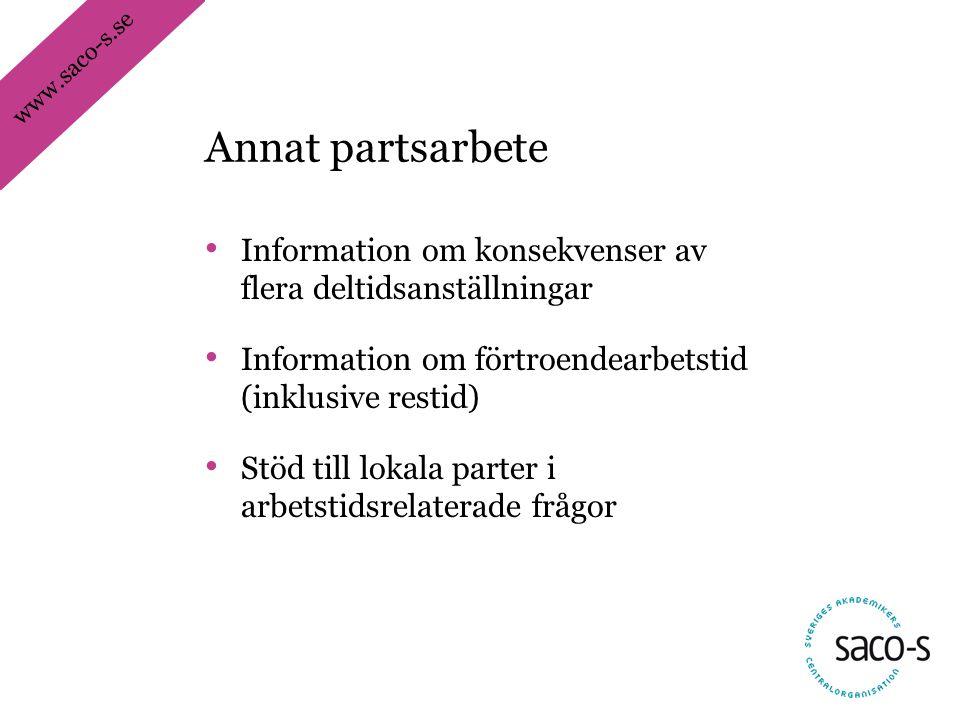 www.saco-s.se • Information om konsekvenser av flera deltidsanställningar • Information om förtroendearbetstid (inklusive restid) • Stöd till lokala parter i arbetstidsrelaterade frågor Annat partsarbete