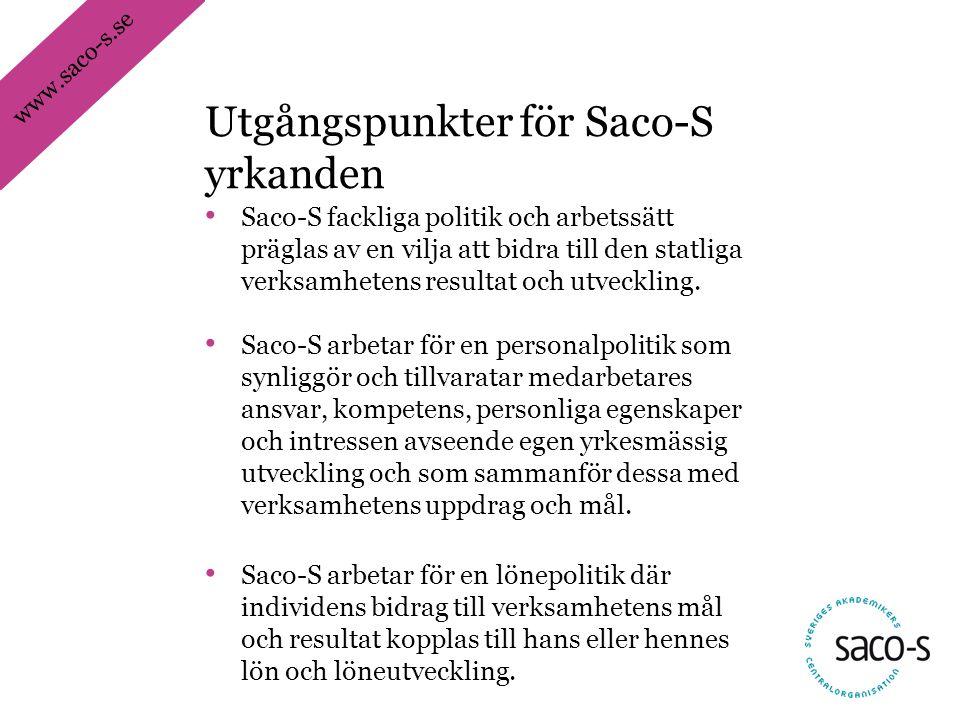 www.saco-s.se • Saco-S fackliga politik och arbetssätt präglas av en vilja att bidra till den statliga verksamhetens resultat och utveckling. • Saco-S