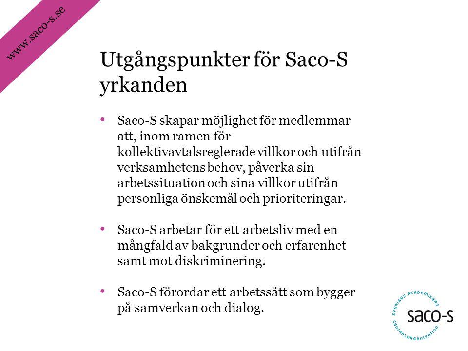 www.saco-s.se • Saco-S skapar möjlighet för medlemmar att, inom ramen för kollektivavtalsreglerade villkor och utifrån verksamhetens behov, påverka sin arbetssituation och sina villkor utifrån personliga önskemål och prioriteringar.