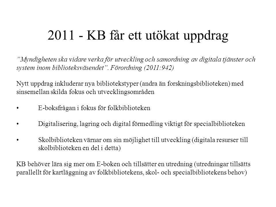 """2011 - KB får ett utökat uppdrag """"Myndigheten ska vidare verka för utveckling och samordning av digitala tjänster och system inom biblioteksväsendet""""."""