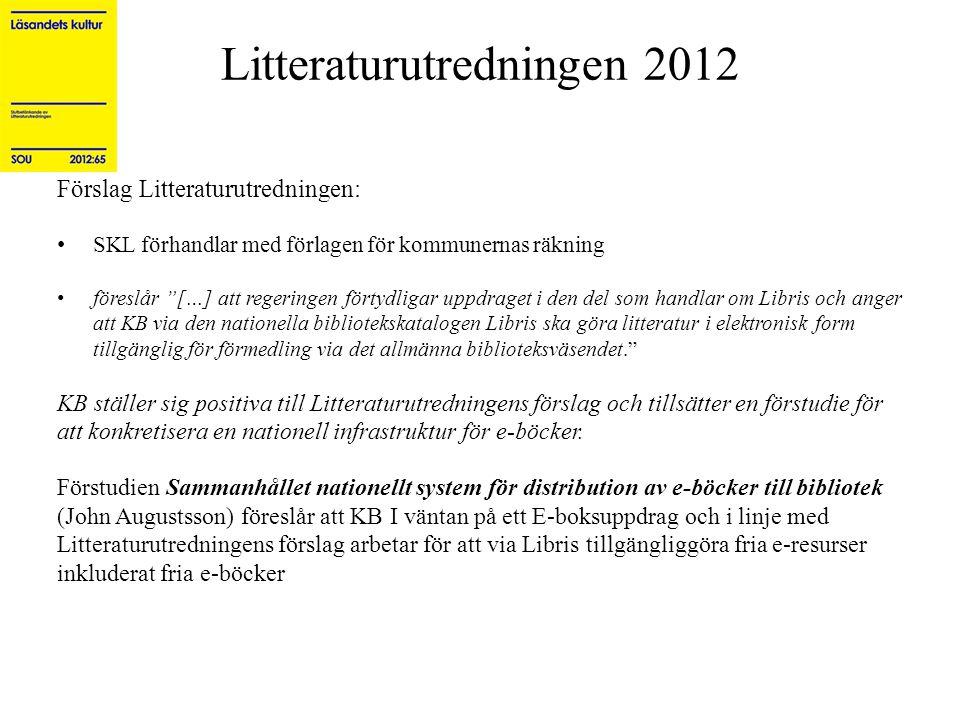 """Litteraturutredningen 2012 Förslag Litteraturutredningen: • SKL förhandlar med förlagen för kommunernas räkning • föreslår """"[…] att regeringen förtydl"""