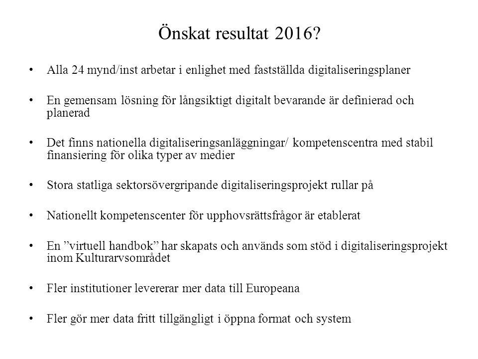 Önskat resultat 2016? • Alla 24 mynd/inst arbetar i enlighet med fastställda digitaliseringsplaner • En gemensam lösning för långsiktigt digitalt beva