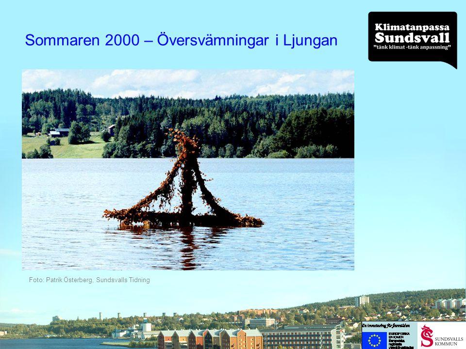 Augusti 2001 – Skyfall i Sundsvall Foto MittSverige Vatten Nybrogatan/Södra Järnvägsgatan i centrala Sundsvall September 2001 Intensiva regn i Sundsvall Bergsåker/Sundsvall
