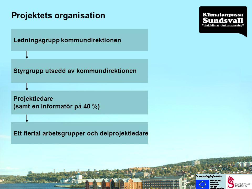 Arbetsgrupper •Lokal klimatscenarier •Selångersån •Dagvatten •Krisberedskap •Havet •Ras och skred •Miljörisker •Hälsofrågor •Positiva effekter •Information •EU-projekt •Förvaltnings- och bolagsspecifika analyser