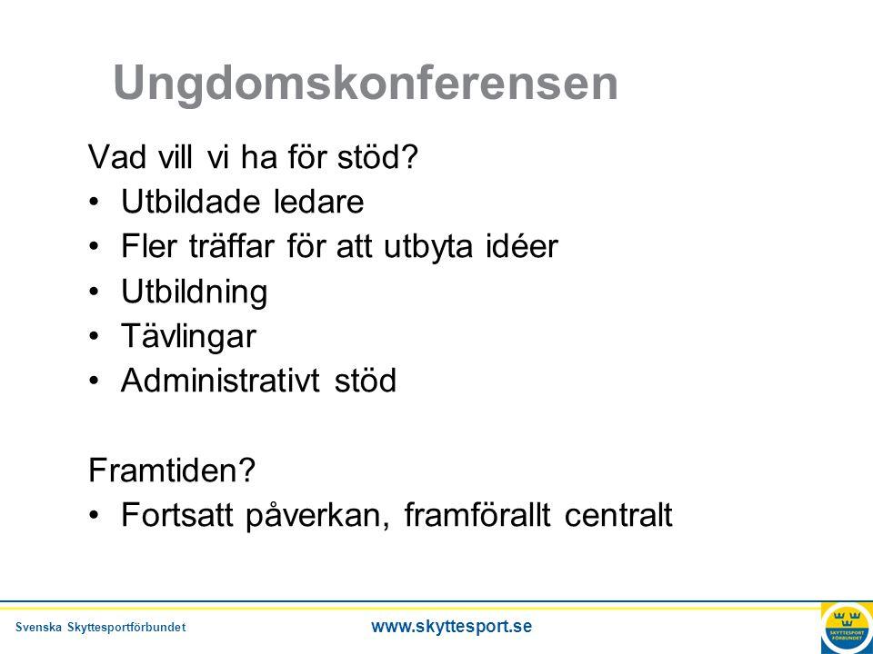 Svenska Skyttesportförbundet www.skyttesport.se Ungdomskonferensen Vad vill vi ha för stöd.
