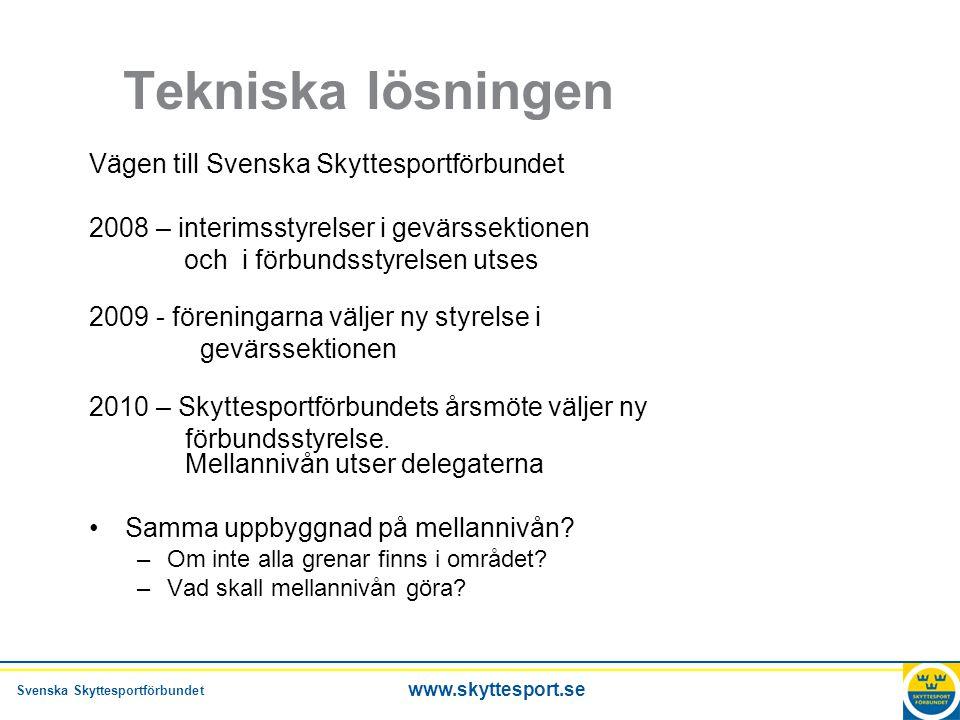 Svenska Skyttesportförbundet www.skyttesport.se Tekniska lösningen Vägen till Svenska Skyttesportförbundet 2008 – interimsstyrelser i gevärssektionen och i förbundsstyrelsen utses 2009 - föreningarna väljer ny styrelse i gevärssektionen 2010 – Skyttesportförbundets årsmöte väljer ny förbundsstyrelse.