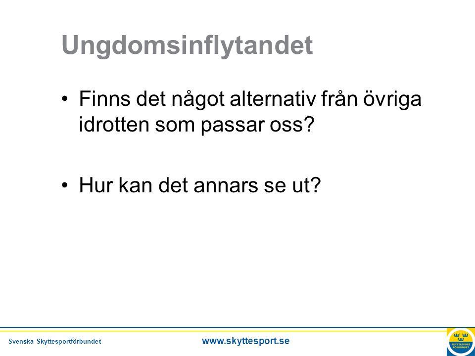 Svenska Skyttesportförbundet www.skyttesport.se Ungdomsinflytandet •Finns det något alternativ från övriga idrotten som passar oss.