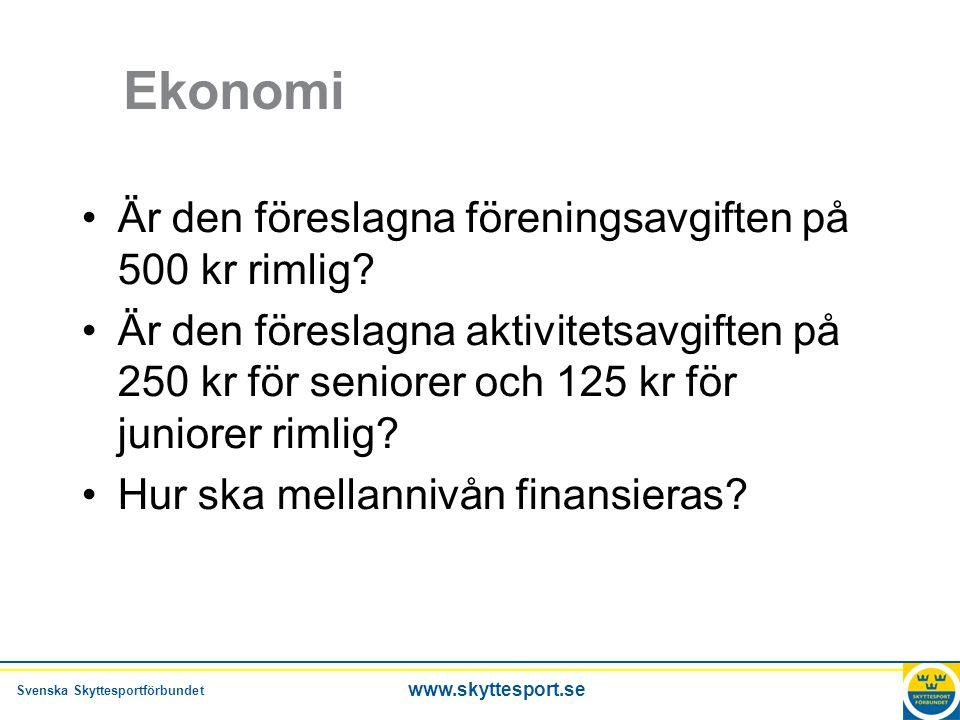 Svenska Skyttesportförbundet www.skyttesport.se Ekonomi •Är den föreslagna föreningsavgiften på 500 kr rimlig.
