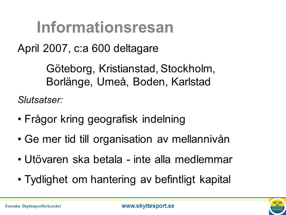 Svenska Skyttesportförbundet www.skyttesport.se Enkäten Syfte: Ge vägledning för ekonomiska beräkningar Totalt 952 förening har svarat, 41% Kommer att gå med i en ny organisation.
