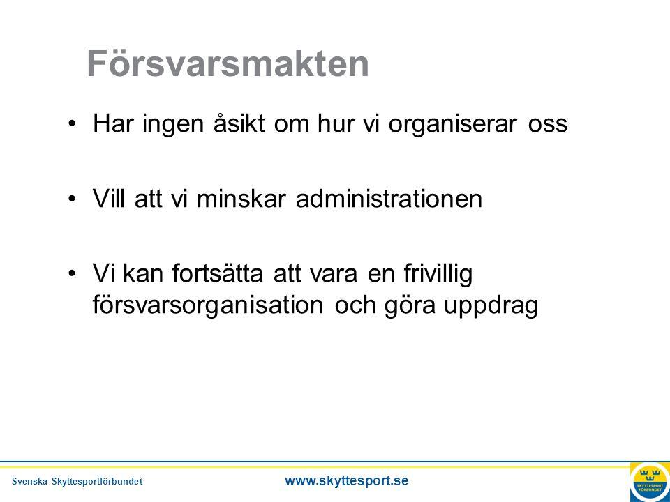 Svenska Skyttesportförbundet www.skyttesport.se Ungdomsstyrelsen •Fortsatt bidrag i ny organisation.