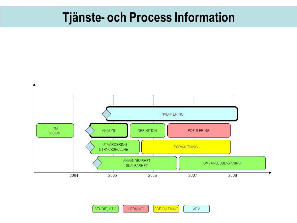 Tjänste- och Process Information 2004 2005 20062007 2008 IRM VISION ANALYS DEFINITION UTVÄRDERING UTRYCKSFULLHET FÖRVALTNING POPULERING ANVÄNDBARHET S