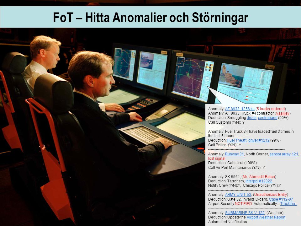 FoT – Hitta Anomalier och Störningar Anomaly: AF 8933, 1256 kg (5 trucks ordered) Anomaly: AF 8933, Truck #4 contractor (Vasiliev) Deduction: Smuggling drugs, contraband (90%) Call Customs (Y/N): Y ------------------------------------------------------------- Anomaly: Fuel Truck 34 have loaded fuel 3 times in the last 5 hours..
