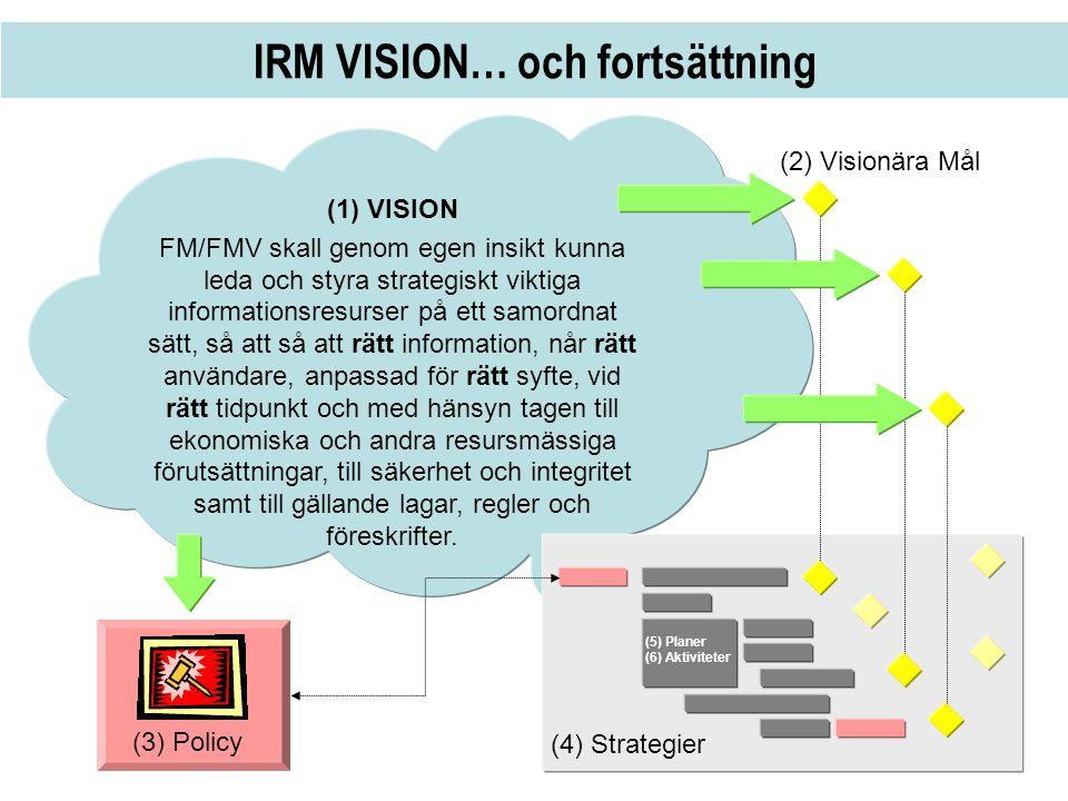 IRM VISION… och fortsättning (1) VISION FM/FMV skall genom egen insikt kunna leda och styra strategiskt viktiga informationsresurser på ett samordnat