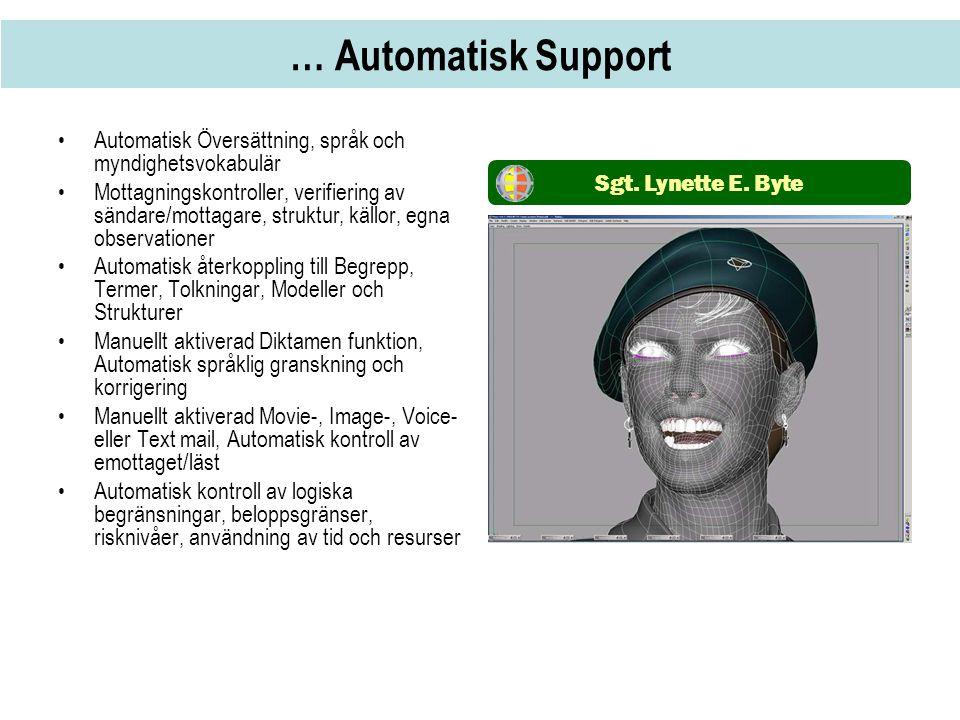 … Automatisk Support •Automatisk Översättning, språk och myndighetsvokabulär •Mottagningskontroller, verifiering av sändare/mottagare, struktur, källo