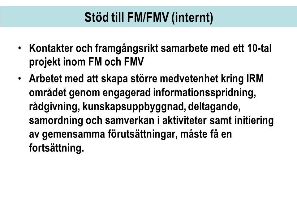 Stöd till FM/FMV (internt) • Kontakter och framgångsrikt samarbete med ett 10-tal projekt inom FM och FMV • Arbetet med att skapa större medvetenhet k