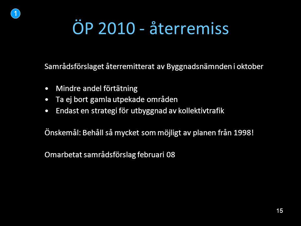 15 ÖP 2010 - återremiss Samrådsförslaget återremitterat av Byggnadsnämnden i oktober •Mindre andel förtätning •Ta ej bort gamla utpekade områden •Enda
