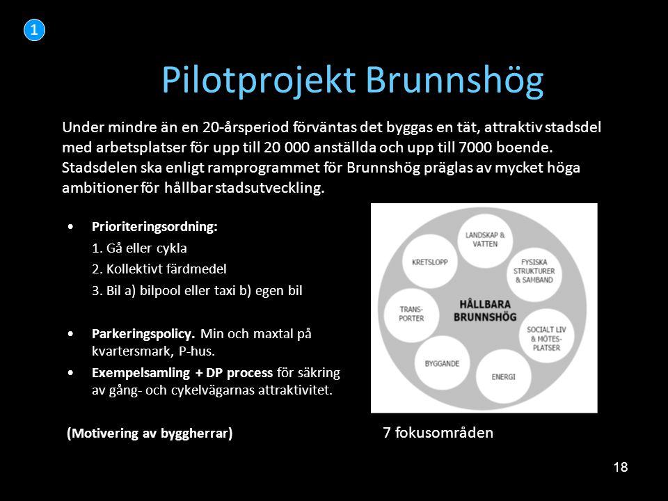 18 Pilotprojekt Brunnshög •Prioriteringsordning: 1. Gå eller cykla 2. Kollektivt färdmedel 3. Bil a) bilpool eller taxi b) egen bil •Parkeringspolicy.