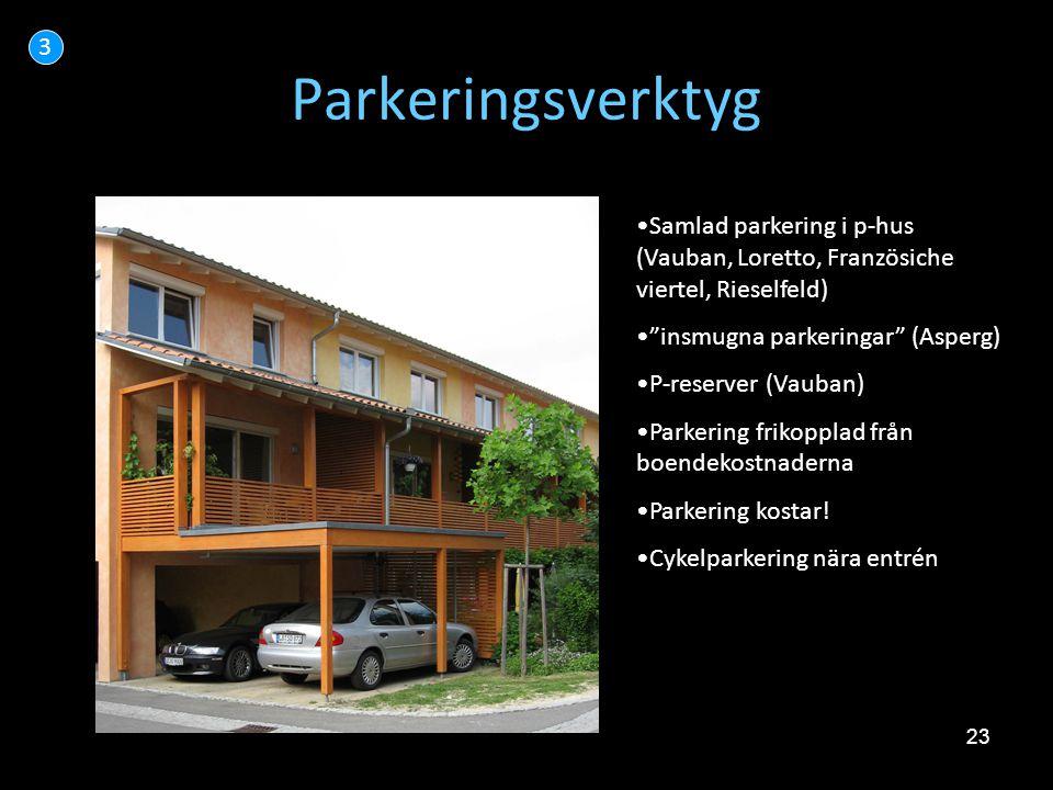 "23 Parkeringsverktyg 3 •Samlad parkering i p-hus (Vauban, Loretto, Französiche viertel, Rieselfeld) •""insmugna parkeringar"" (Asperg) •P-reserver (Vaub"