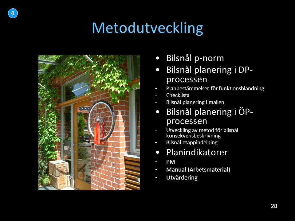 28 Metodutveckling •Bilsnål p-norm •Bilsnål planering i DP- processen - Planbestämmelser för funktionsblandning - Checklista - Bilsnål planering i mal