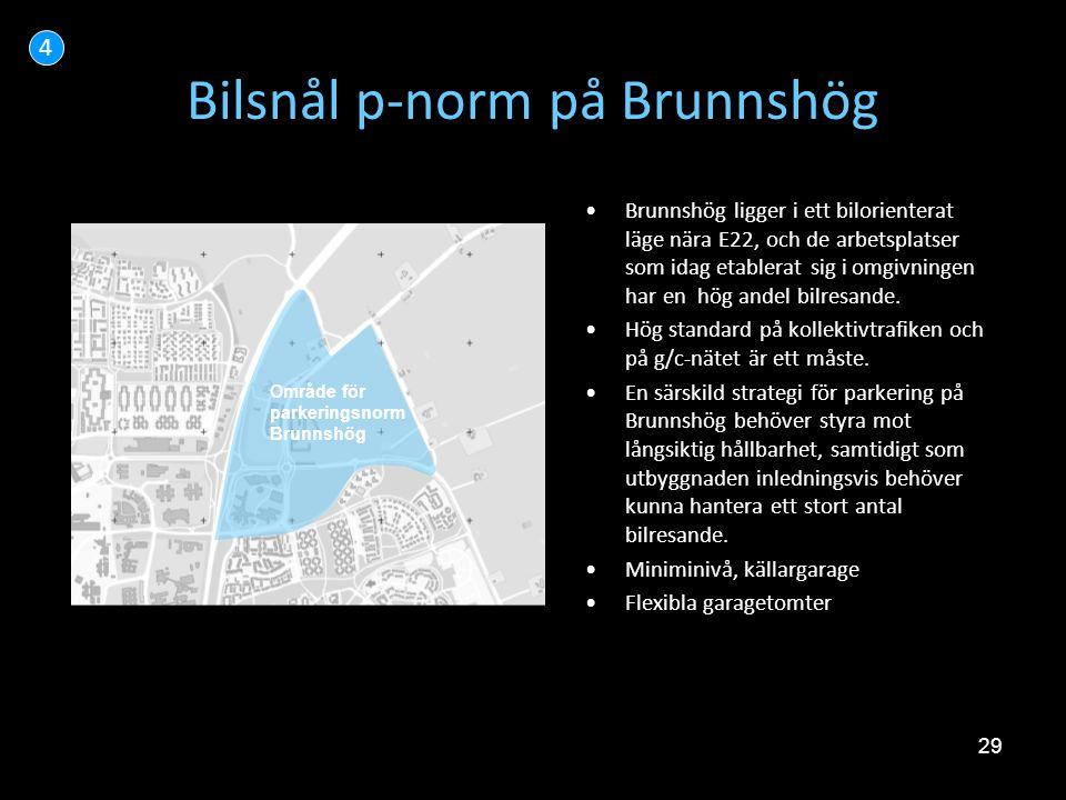 29 Bilsnål p-norm på Brunnshög •Brunnshög ligger i ett bilorienterat läge nära E22, och de arbetsplatser som idag etablerat sig i omgivningen har en h
