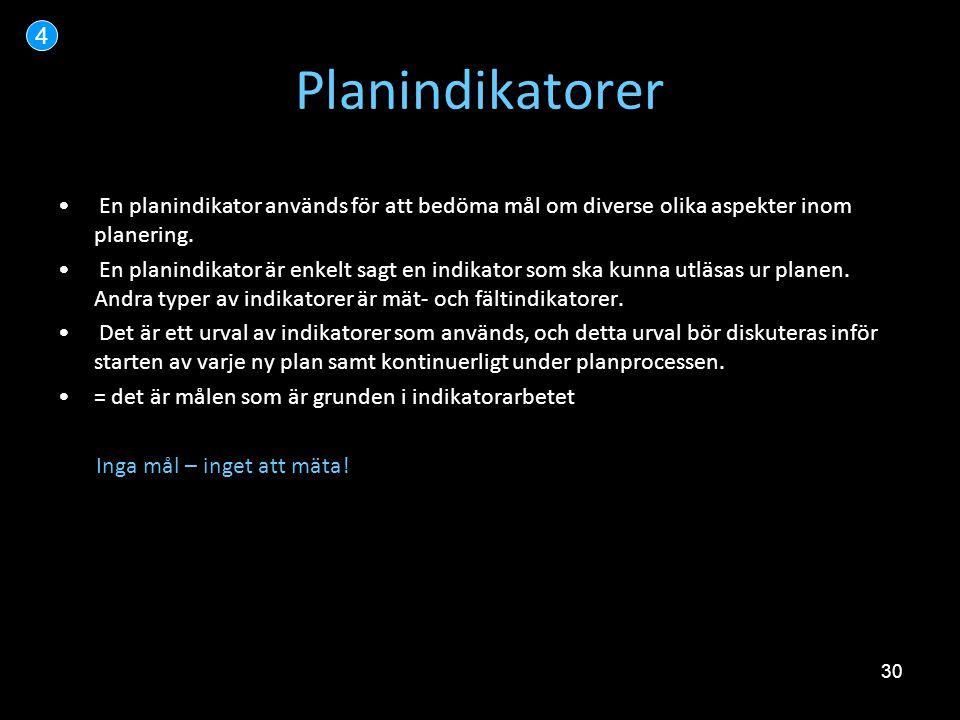 30 Planindikatorer 4 • En planindikator används för att bedöma mål om diverse olika aspekter inom planering. • En planindikator är enkelt sagt en indi