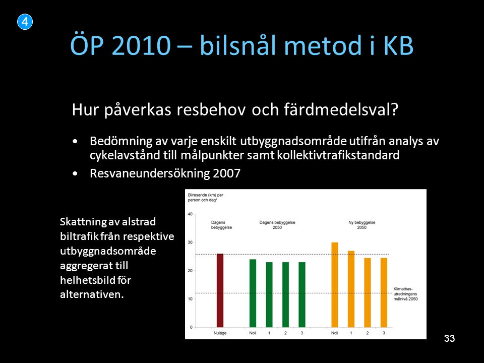 33 ÖP 2010 – bilsnål metod i KB Hur påverkas resbehov och färdmedelsval? •Bedömning av varje enskilt utbyggnadsområde utifrån analys av cykelavstånd t