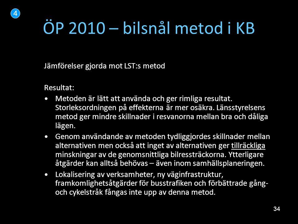 34 ÖP 2010 – bilsnål metod i KB Jämförelser gjorda mot LST:s metod Resultat: •Metoden är lätt att använda och ger rimliga resultat. Storleksordningen