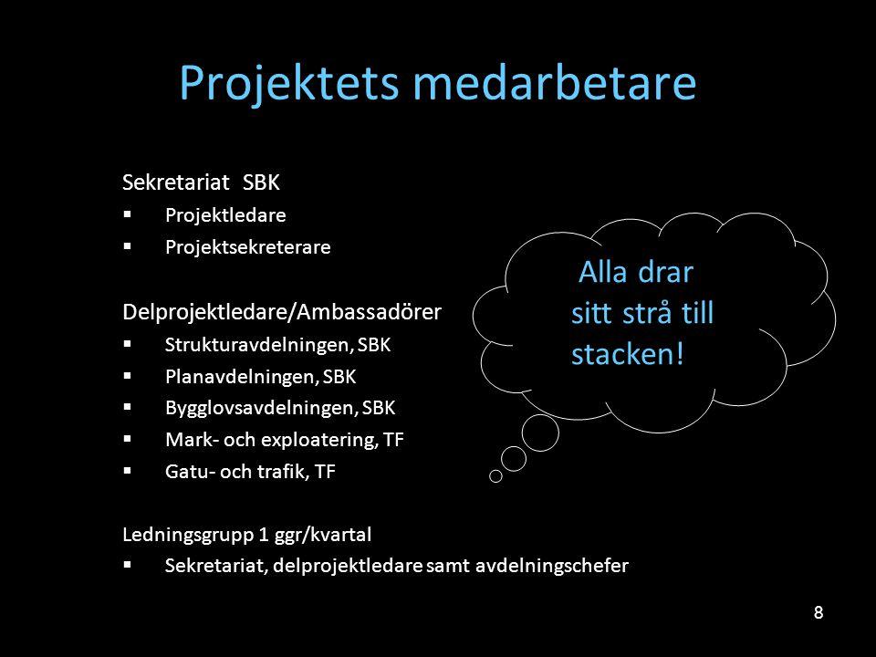 8 Projektets medarbetare Sekretariat SBK  Projektledare  Projektsekreterare Delprojektledare/Ambassadörer  Strukturavdelningen, SBK  Planavdelning