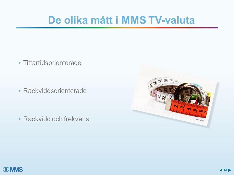 De olika mått i MMS TV-valuta •Tittartidsorienterade. •Räckviddsorienterade. •Räckvidd och frekvens. 14