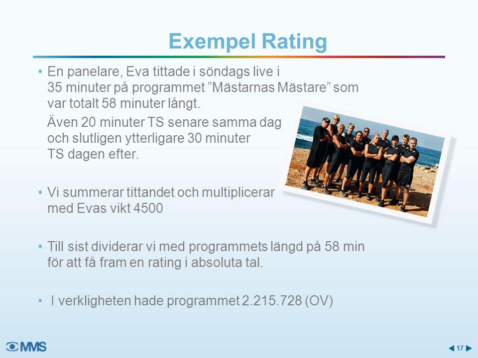 """Exempel Rating •En panelare, Eva tittade i söndags live i 35 minuter på programmet """"Mästarnas Mästare"""" som var totalt 58 minuter långt. Även 20 minute"""