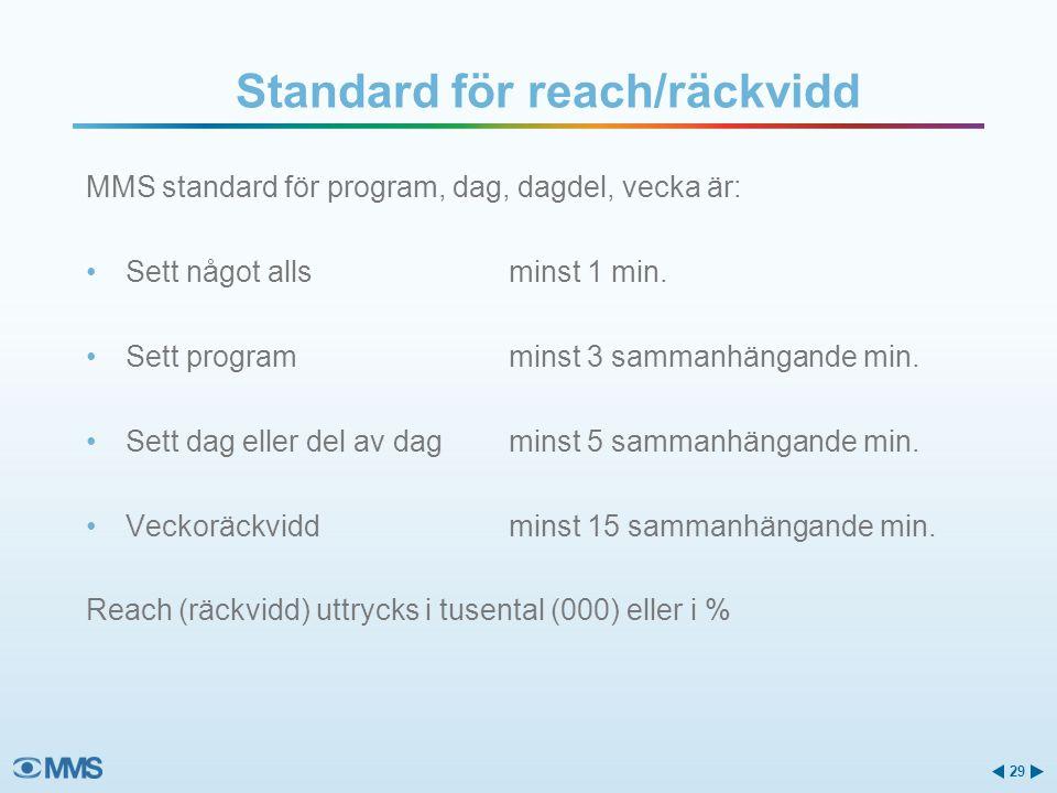 MMS standard för program, dag, dagdel, vecka är: •Sett något allsminst 1 min. •Sett programminst 3 sammanhängande min. •Sett dag eller del av dagminst