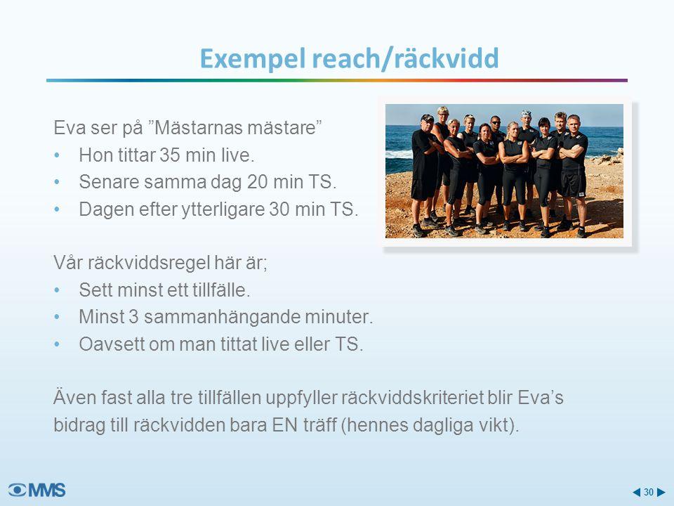 """Exempel reach/räckvidd Eva ser på """"Mästarnas mästare"""" •Hon tittar 35 min live. •Senare samma dag 20 min TS. •Dagen efter ytterligare 30 min TS. Vår rä"""