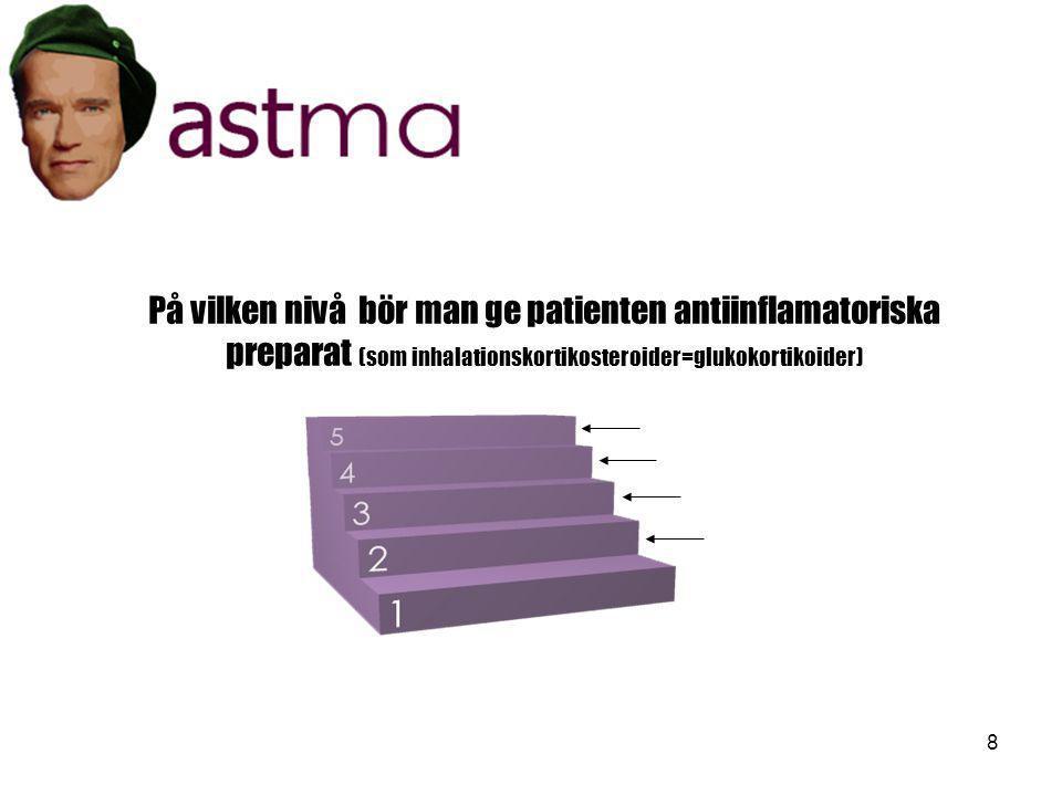 8 På vilken nivå bör man ge patienten antiinflamatoriska preparat (som inhalationskortikosteroider=glukokortikoider)