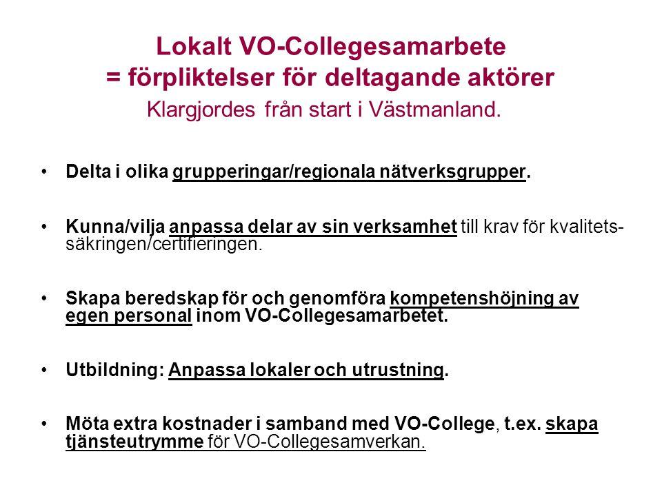 Lokalt VO-Collegesamarbete = förpliktelser för deltagande aktörer Klargjordes från start i Västmanland. •Delta i olika grupperingar/regionala nätverks