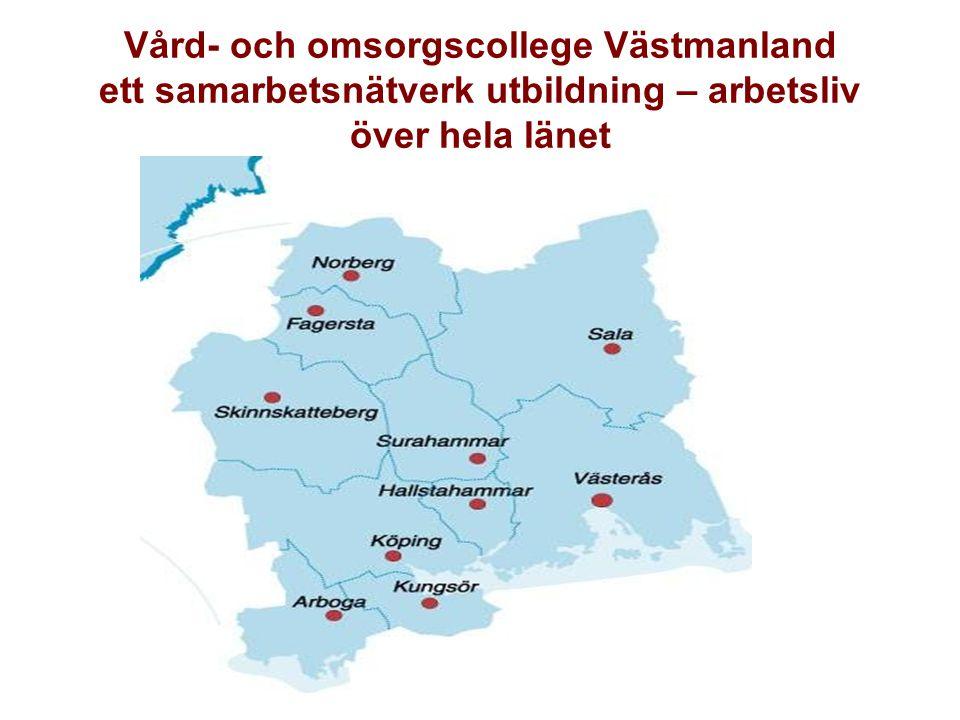 VO-Collegeregioner i Sverige Vård- och omsorgscollege-regioner (certifierade/på gång): •Region Västerbotten •Region Dalarna •Region Värmland •Region Örebro län •Region Västmanland •Region Södra Norrland •Region Östergötland •Region Skåne •Stockholmsregionen •Region Jämtland •Region Uppsala •Göteborgsregionen •Region Skaraborg •Region Gävleborg •Region Sörmland Först regional certifiering, sedan möjligt för lokala college att bli certifierade.