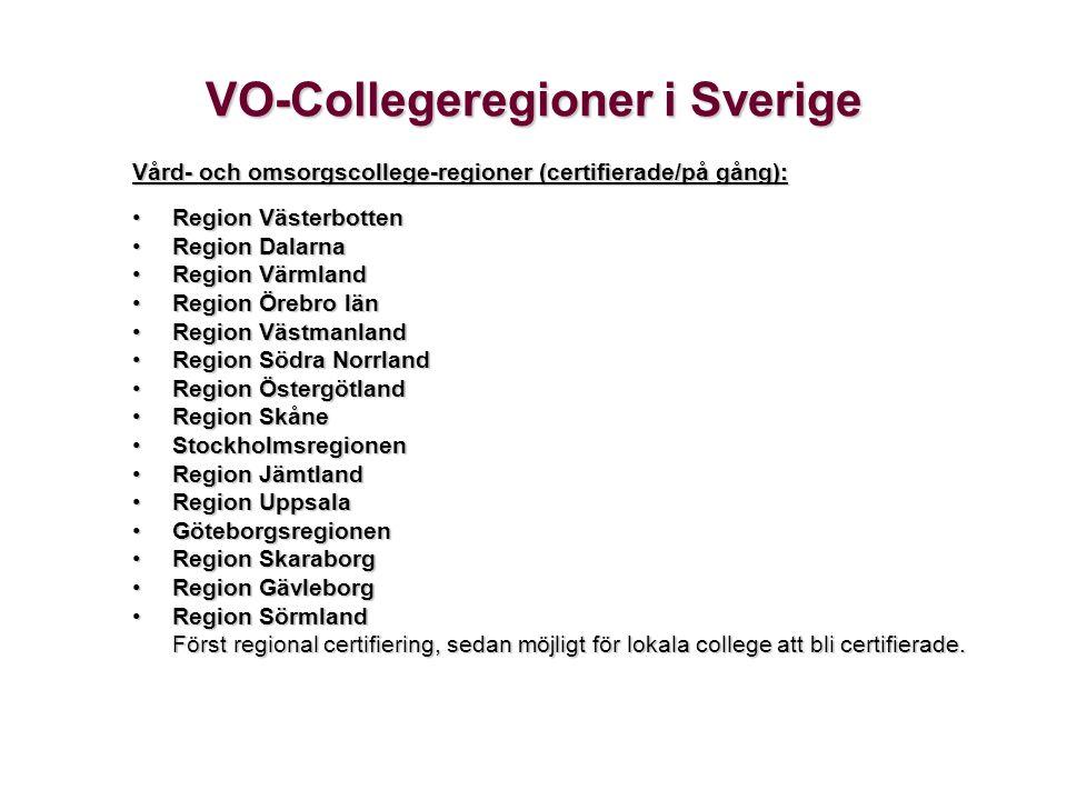 VO-Collegeregioner i Sverige Vård- och omsorgscollege-regioner (certifierade/på gång): •Region Västerbotten •Region Dalarna •Region Värmland •Region Ö