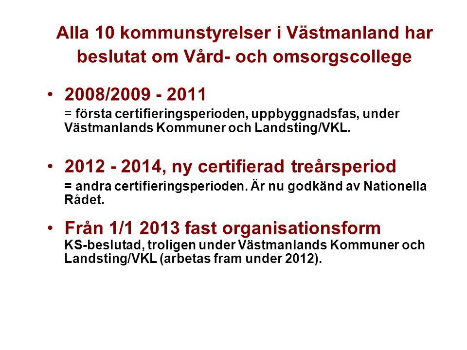 Alla 10 kommunstyrelser i Västmanland har beslutat om Vård- och omsorgscollege •2008/2009 - 2011 = första certifieringsperioden, uppbyggnadsfas, under