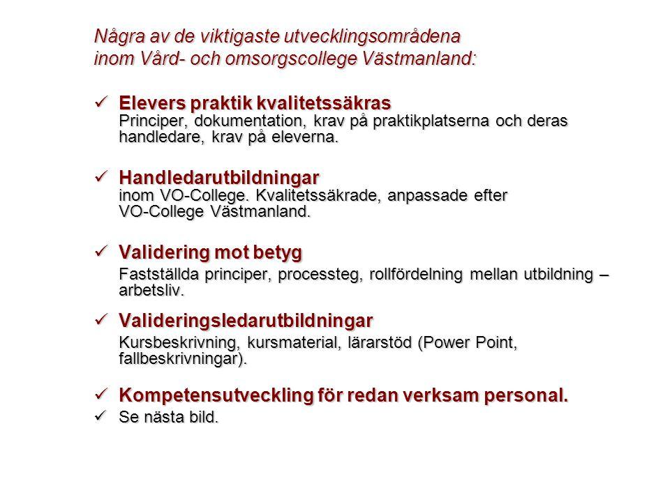 Några av de viktigaste utvecklingsområdena inom Vård- och omsorgscollege Västmanland:  Elevers praktik kvalitetssäkras Principer, dokumentation, krav