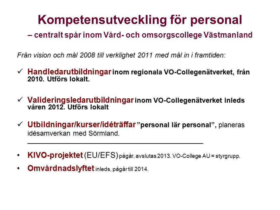 Kompetensutveckling för personal – centralt spår inom Vård- och omsorgscollege Västmanland Från vision och mål 2008 till verklighet 2011 med mål in i