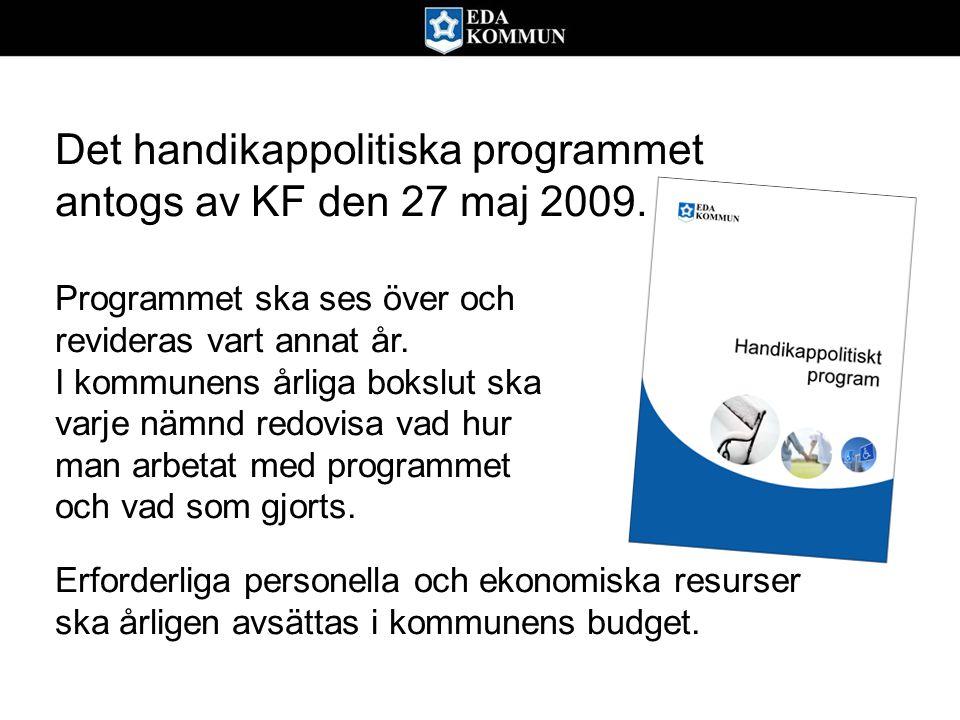 Det handikappolitiska programmet antogs av KF den 27 maj 2009. Programmet ska ses över och revideras vart annat år. I kommunens årliga bokslut ska var