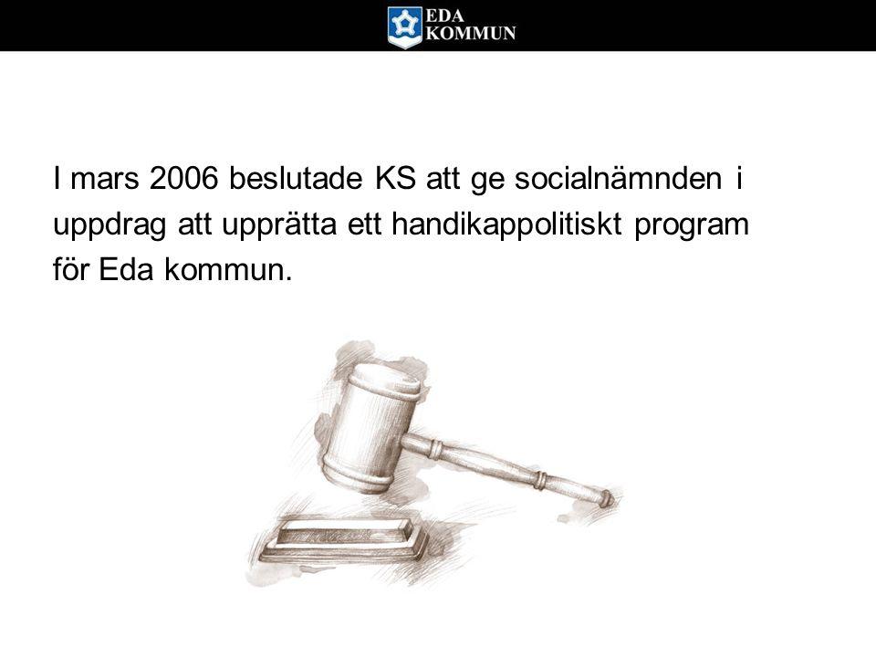 I mars 2006 beslutade KS att ge socialnämnden i uppdrag att upprätta ett handikappolitiskt program för Eda kommun.