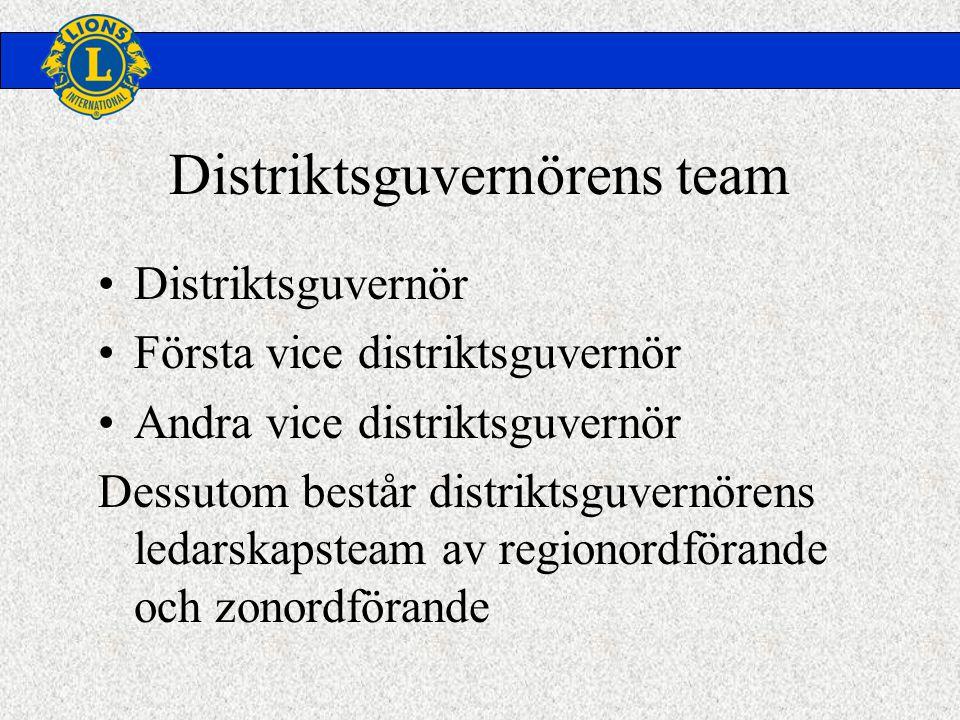 •Distriktsguvernör •Första vice distriktsguvernör •Andra vice distriktsguvernör Dessutom består distriktsguvernörens ledarskapsteam av regionordförande och zonordförande