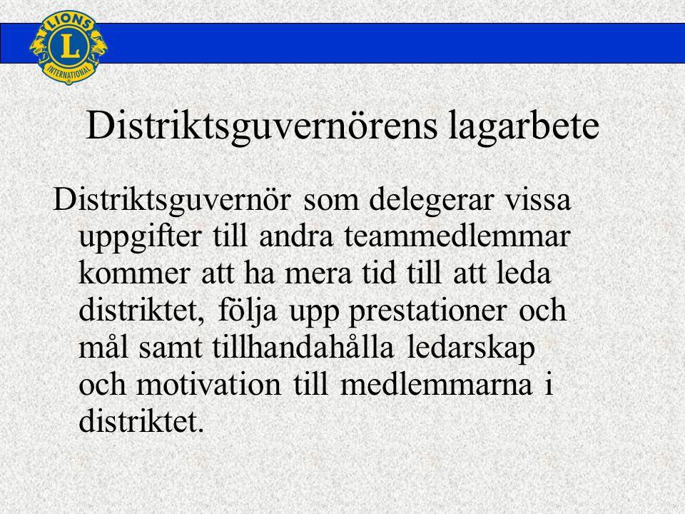 Distriktsguvernörens lagarbete Distriktsguvernör som delegerar vissa uppgifter till andra teammedlemmar kommer att ha mera tid till att leda distriktet, följa upp prestationer och mål samt tillhandahålla ledarskap och motivation till medlemmarna i distriktet.
