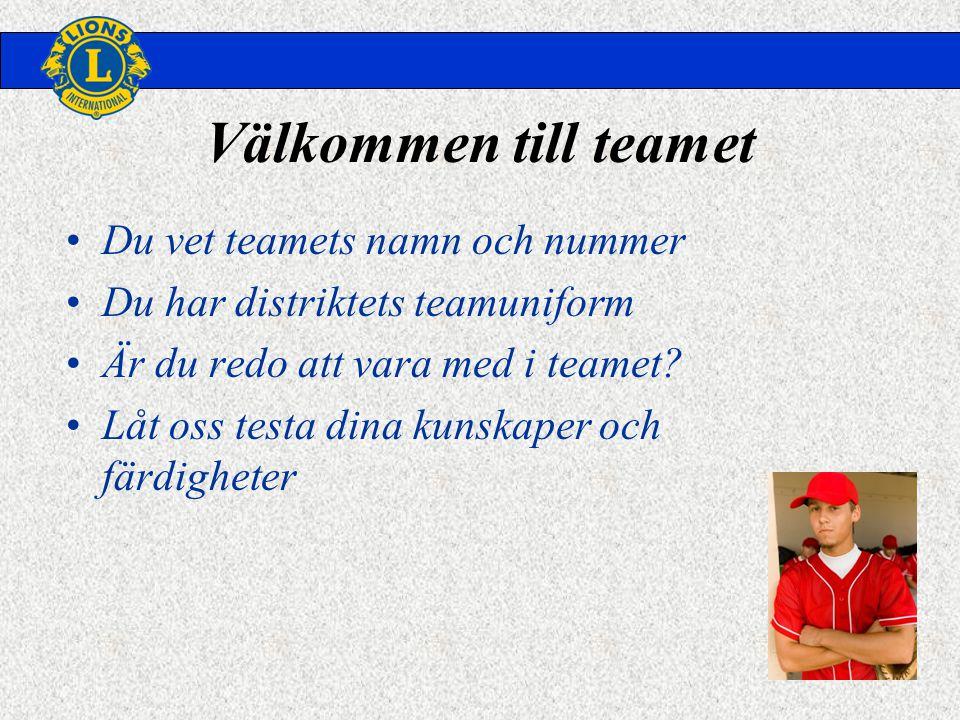 Välkommen till teamet •Du vet teamets namn och nummer •Du har distriktets teamuniform •Är du redo att vara med i teamet.