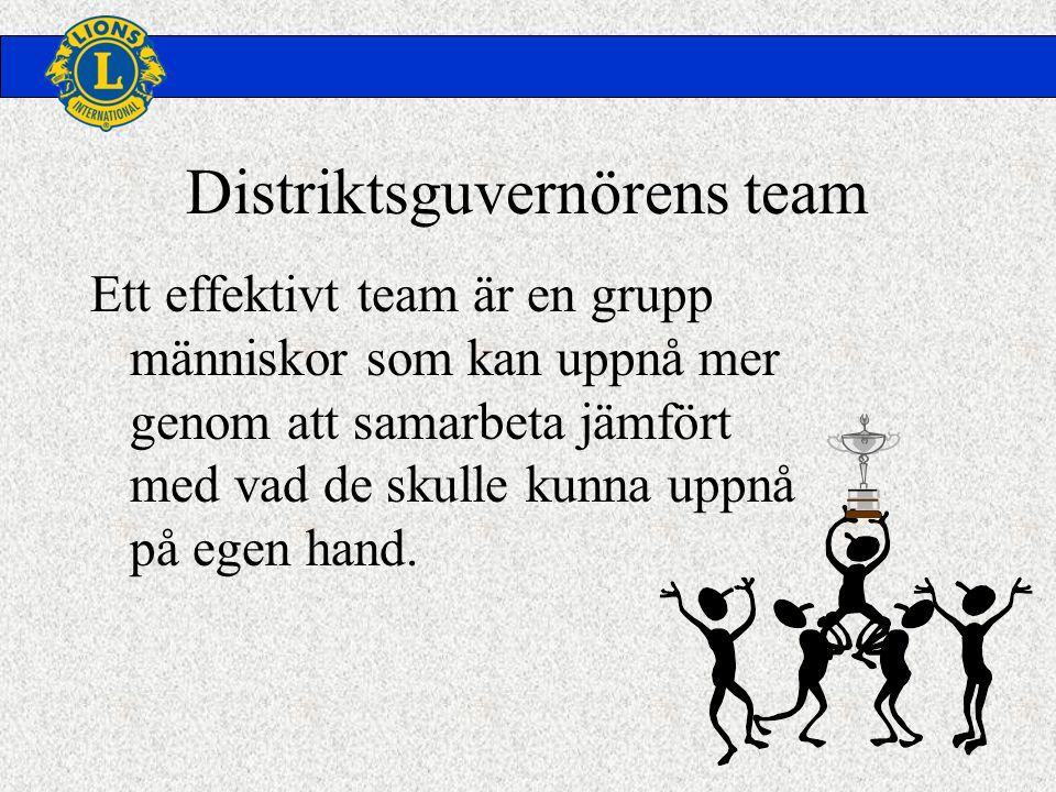 Distriktsguvernörens team Ett effektivt team är en grupp människor som kan uppnå mer genom att samarbeta jämfört med vad de skulle kunna uppnå på egen hand.