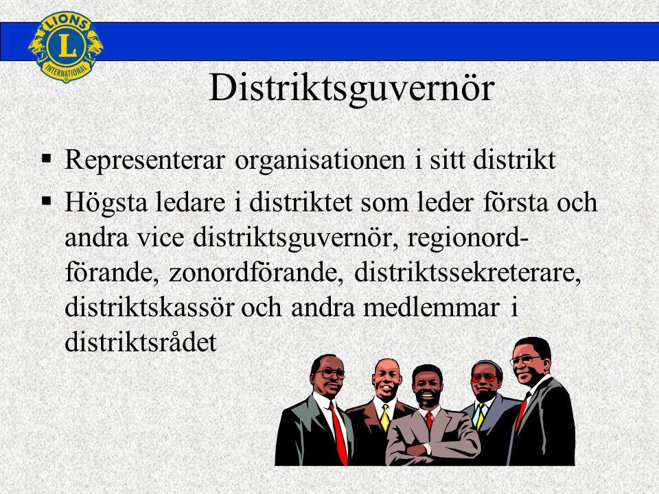 Distriktsguvernör  Representerar organisationen i sitt distrikt  Högsta ledare i distriktet som leder första och andra vice distriktsguvernör, regionord- förande, zonordförande, distriktssekreterare, distriktskassör och andra medlemmar i distriktsrådet