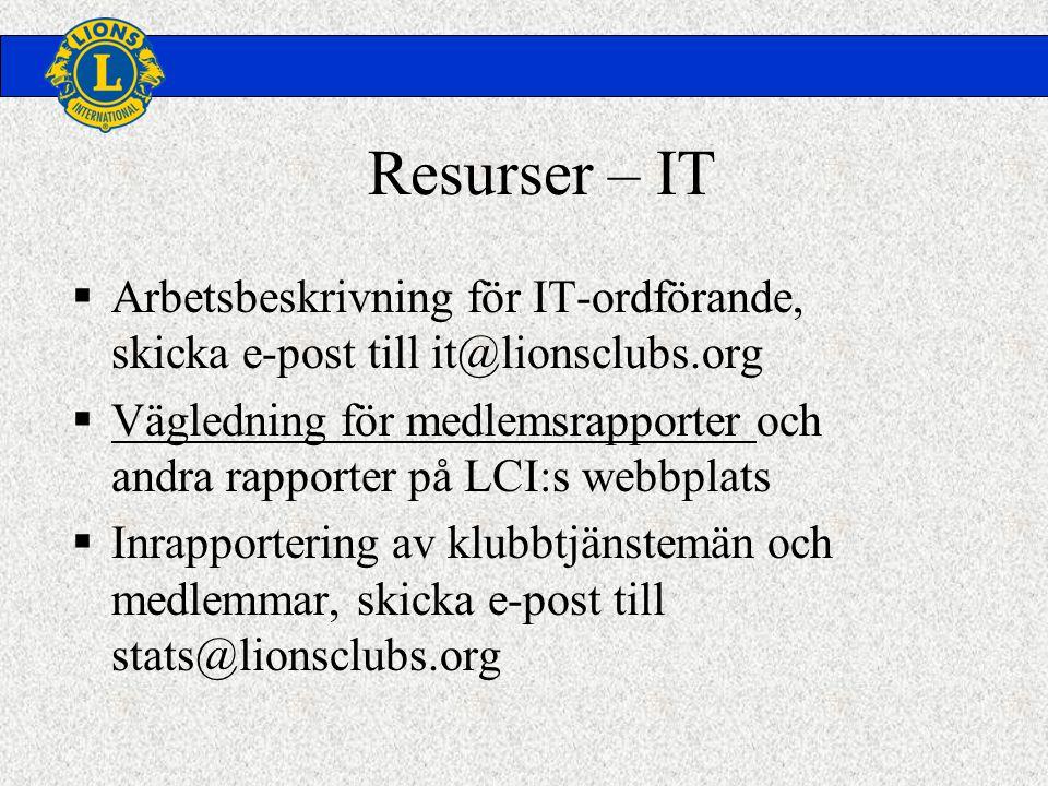 Resurser – IT  Arbetsbeskrivning för IT-ordförande, skicka e-post till it@lionsclubs.org  Vägledning för medlemsrapporter och andra rapporter på LCI:s webbplats  Inrapportering av klubbtjänstemän och medlemmar, skicka e-post till stats@lionsclubs.org