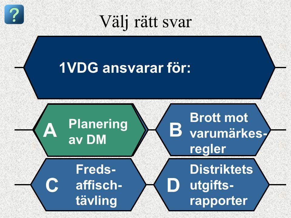 Välj rätt svar 1VDG ansvarar för: Planering av DM A B Brott mot varumärkes- regler Freds- affisch- tävling Distriktets utgifts- rapporter CD